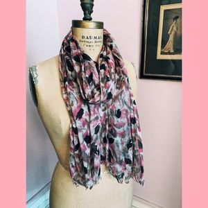 Accessories - Abstract Rose Lightweight Woven Silk Scarf